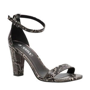 sandalettes slangenprint zwart
