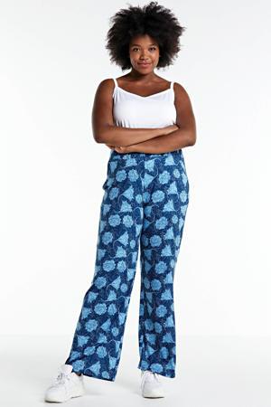 gebloemde straight fit broek blauw