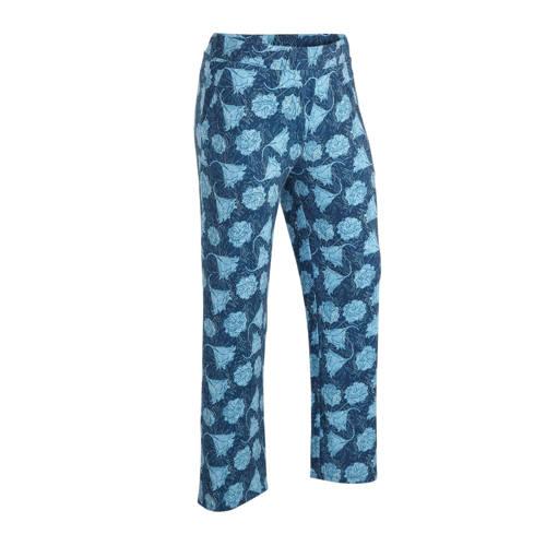 morethanangels gebloemde straight fit broek blauw