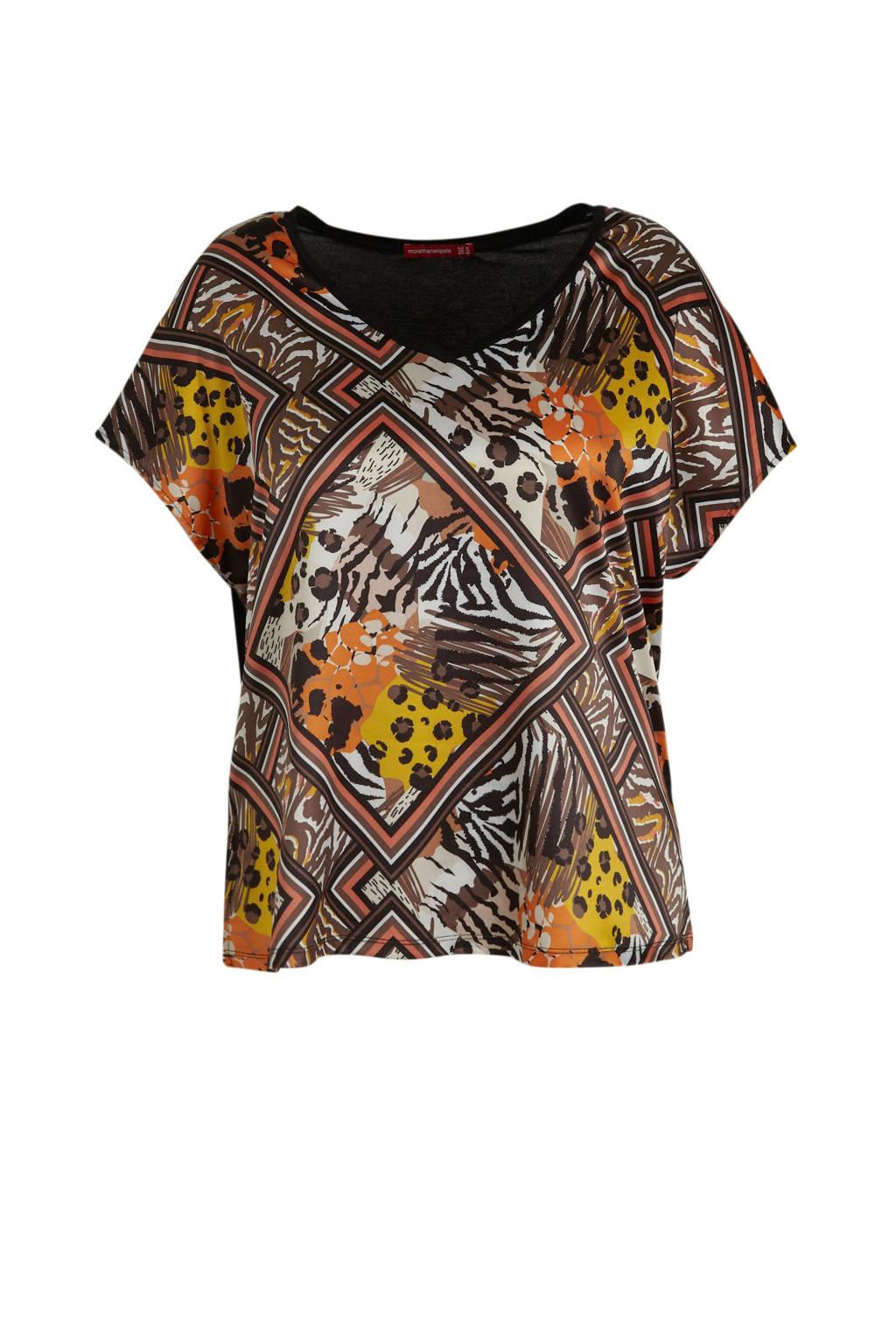 morethanangels top met all over print zwart/bruin, Zwart/bruin