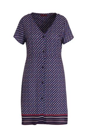 jurk met grafische print blauw/wit/rood
