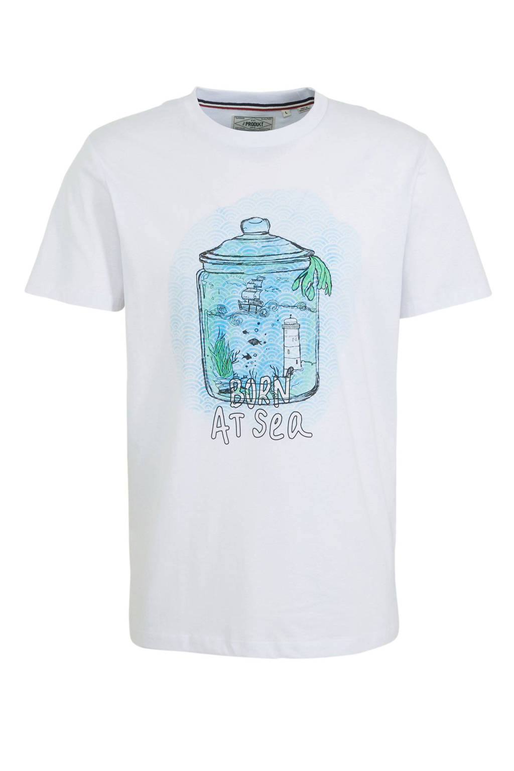 PRODUKT T-shirt Pktauk van biologisch katoen wit, Wit