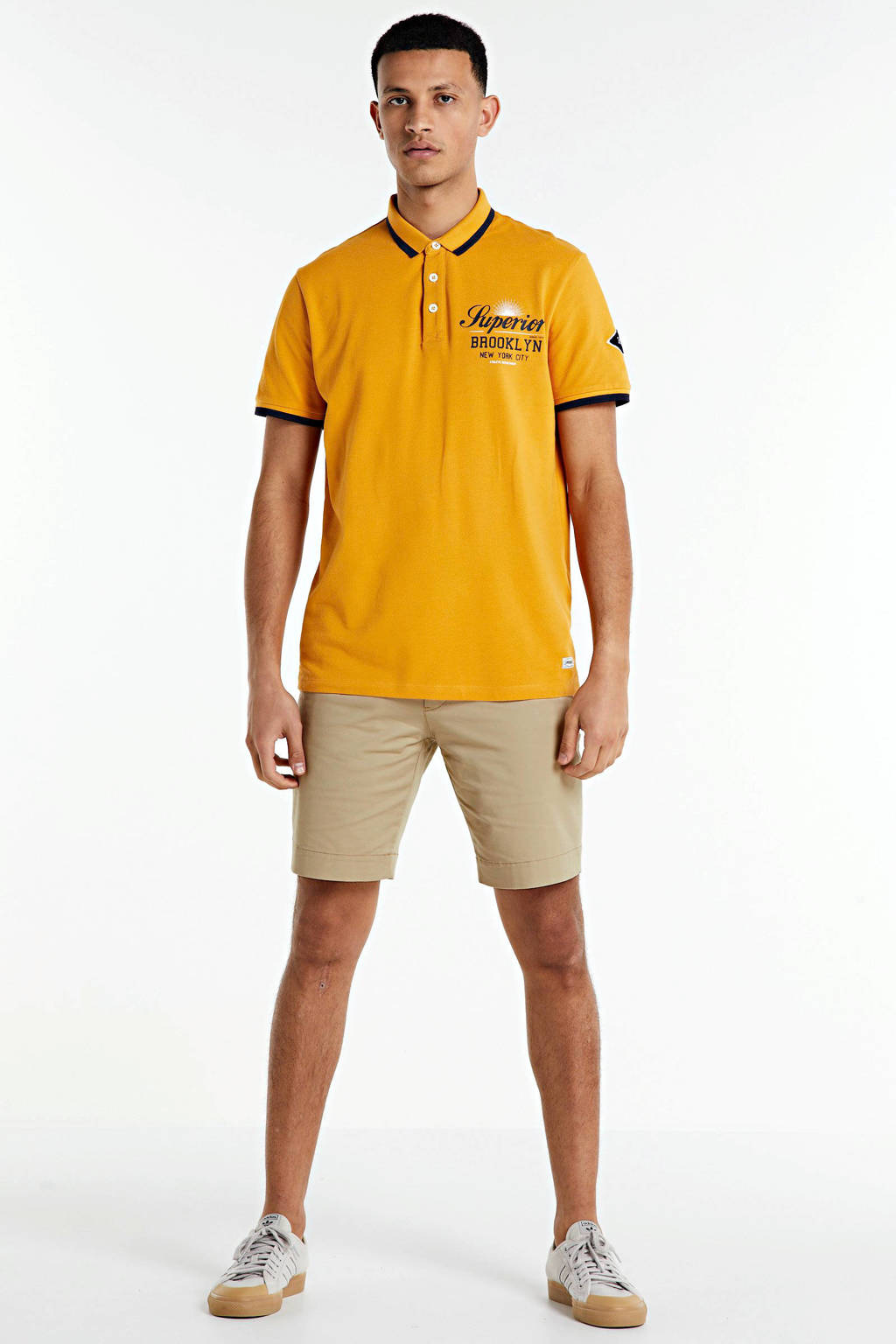 PRODUKT regular fit polo Pktgms met printopdruk geel, Geel