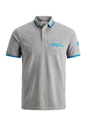 regular fit polo met printopdruk grijs
