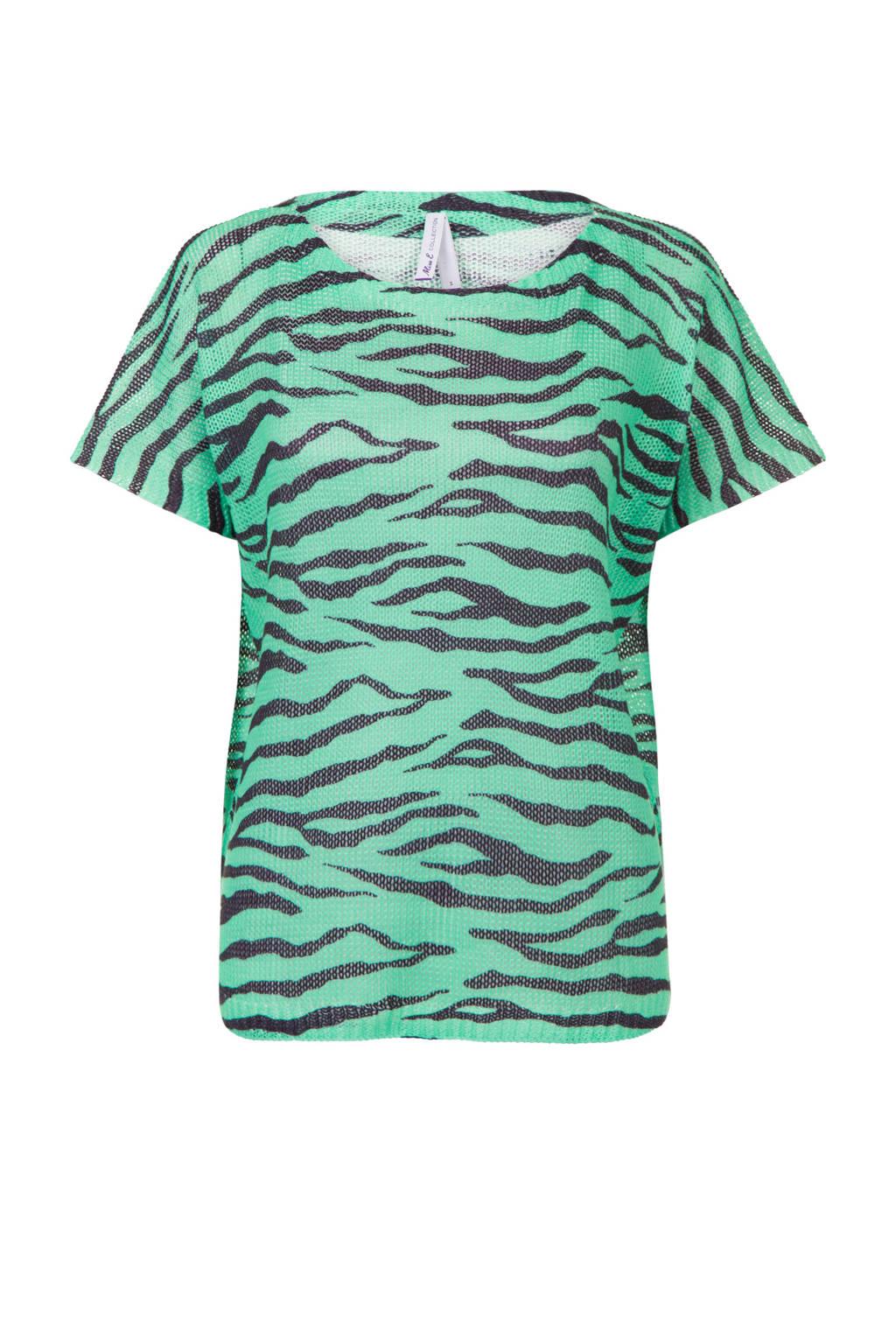 Miss Etam Regulier gebreide top met zebraprint groen/zwart, Groen/zwart