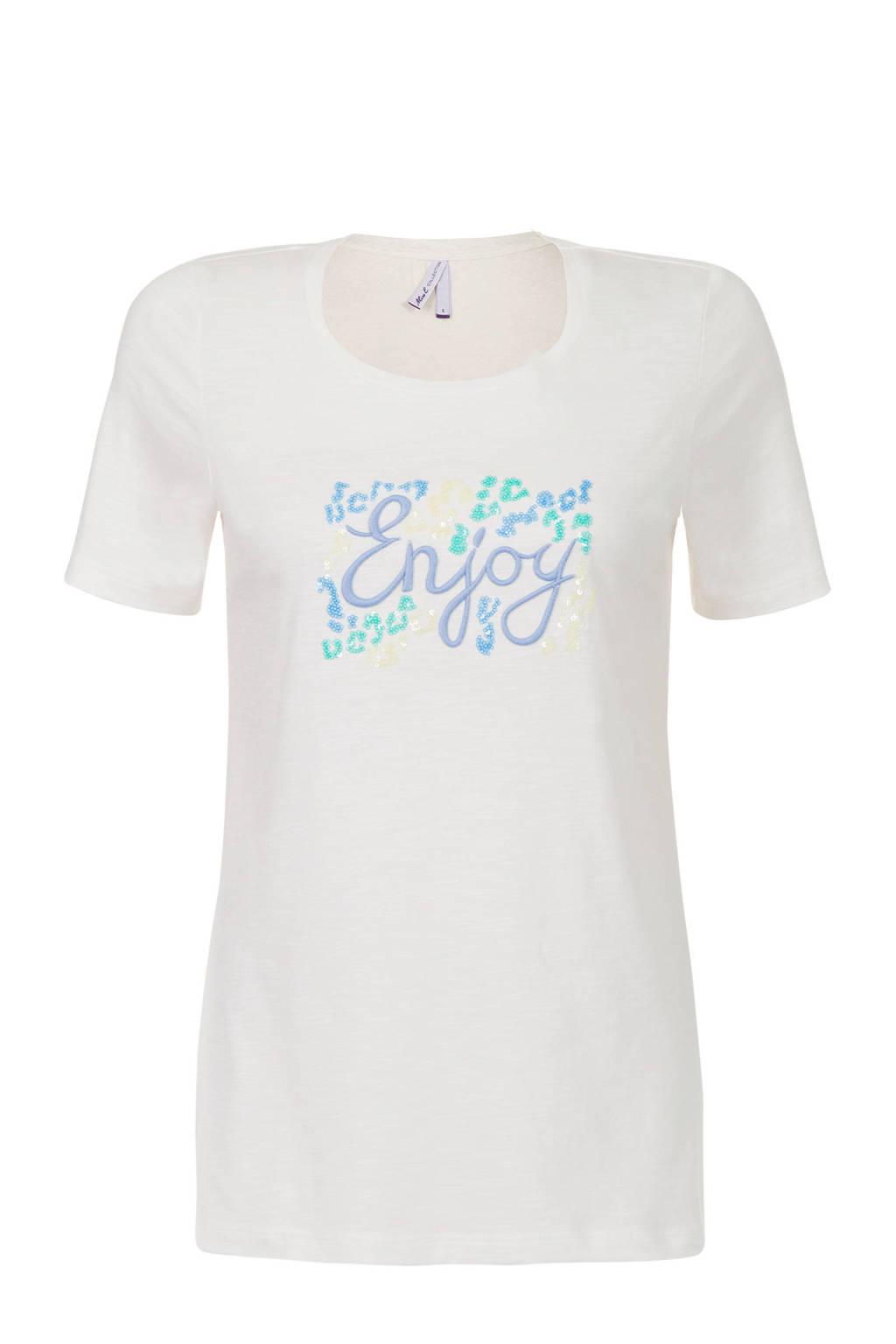 Miss Etam Regulier T-shirt met tekst en glitters wit, Wit