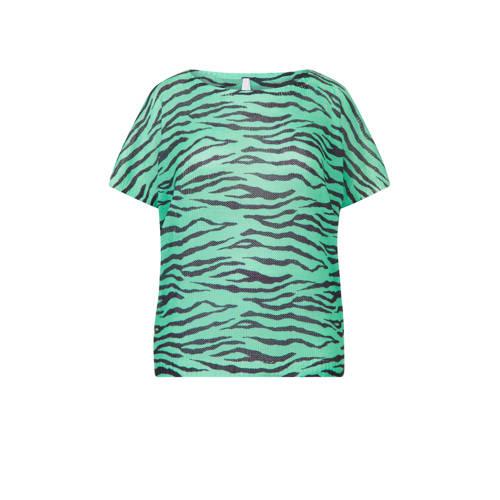 Miss Etam Plus gebreide top met zebraprint groen/z