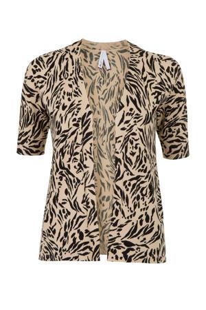 fijngebreid vest met all over print beige/zwart