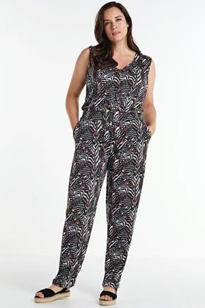 jumpsuit Black/white met all over print zwart/wit/rood