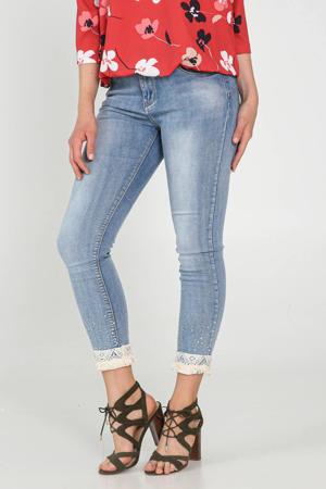 slim fit jeans met sierstenen blauw