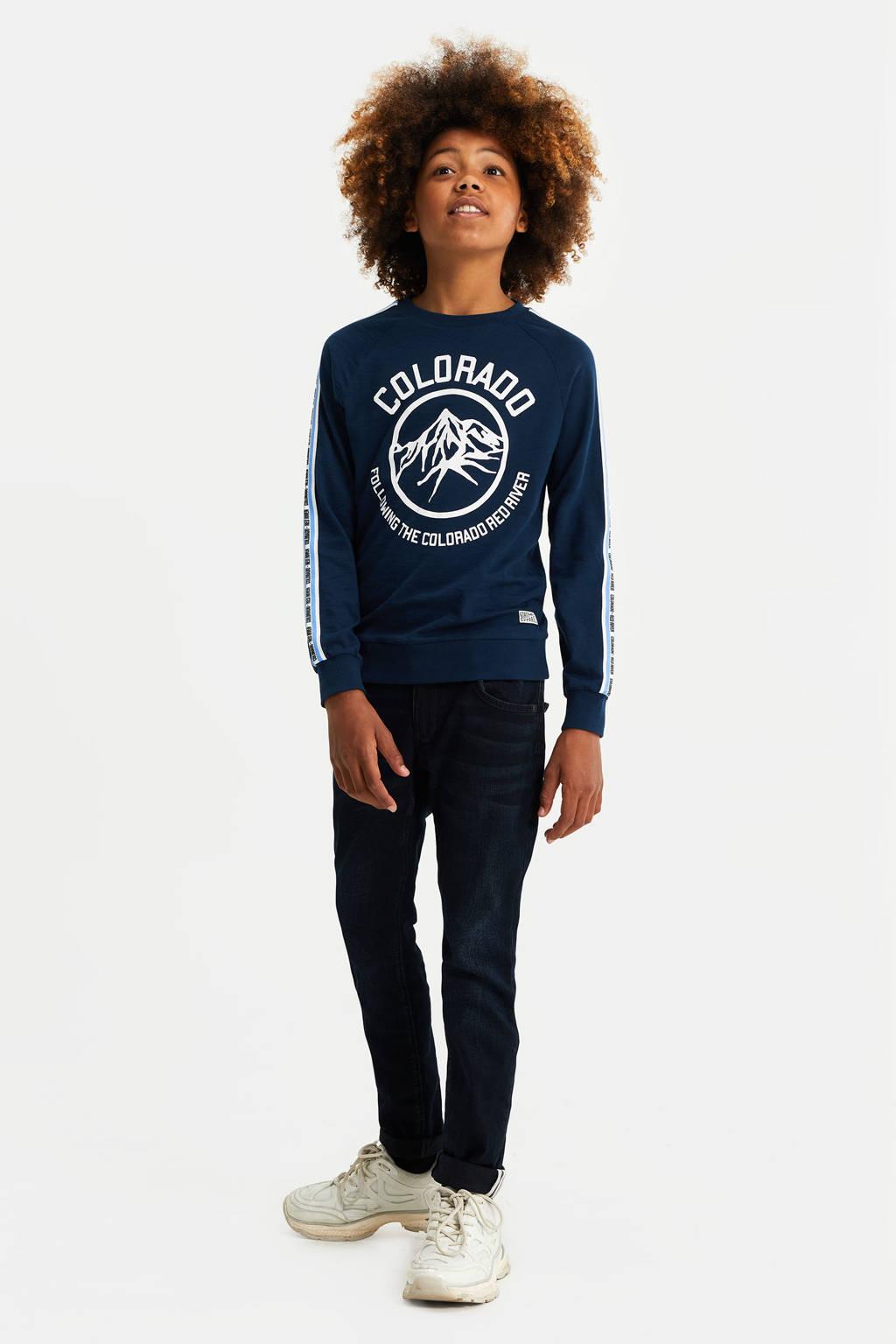 WE Fashion longsleeve met printopdruk donkerblauw, Donkerblauw