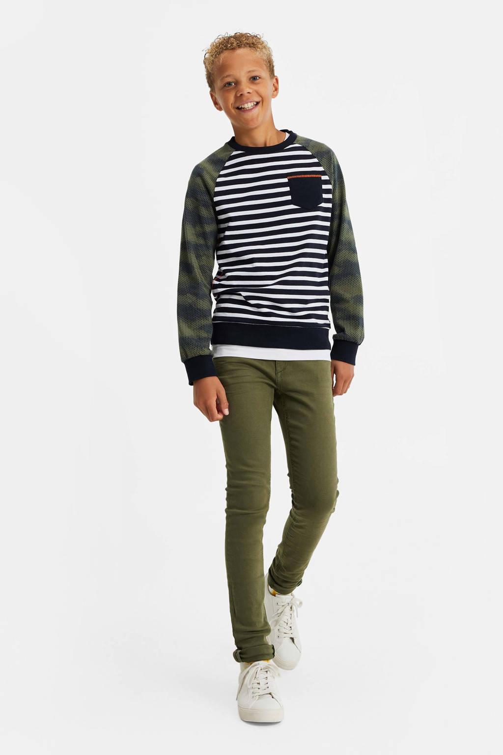 WE Fashion gestreepte longsleeve Brax blauw/groen/wit, Blauw/groen/wit
