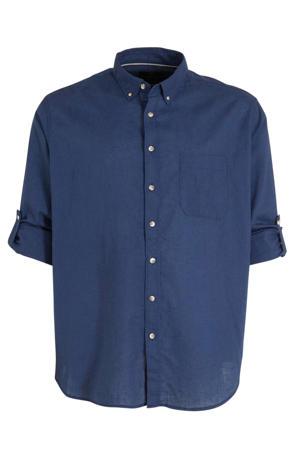 regular fit overhemd met linnen donkerblauw