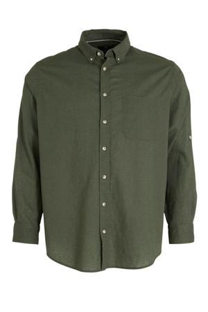regular fit overhemd met linnen olijfgroen