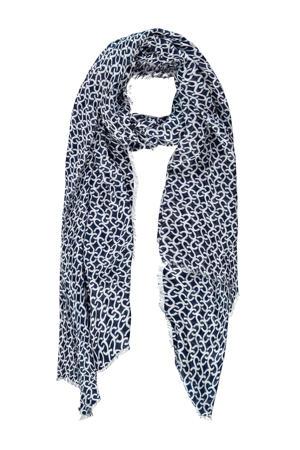 sjaal met all over print marine/wit