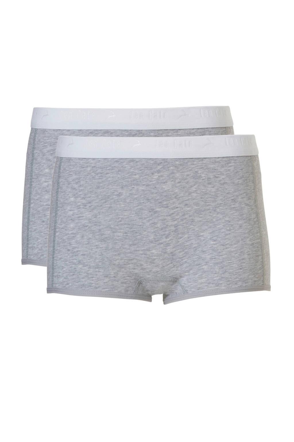 ten Cate Basic teens short - set van 2 grijs melee, Lichtgrijs
