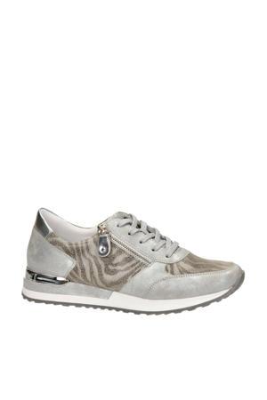leren sneakers zilver/zebraprint