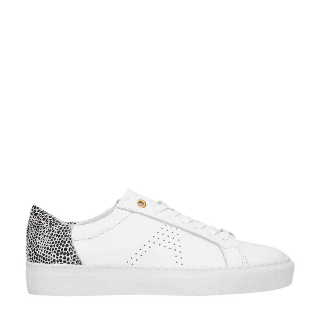 Manfield x Annic   leren sneakers wit/cheetahprint, Wit/zwart
