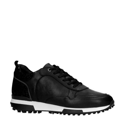 Manfield leren sneakers zwart