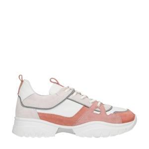 leren dad sneakers wit/oudroze