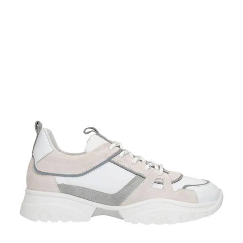 Manfield x Annic leren dad sneakers wit/grijs