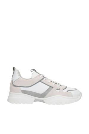 leren dad sneakers wit/grijs