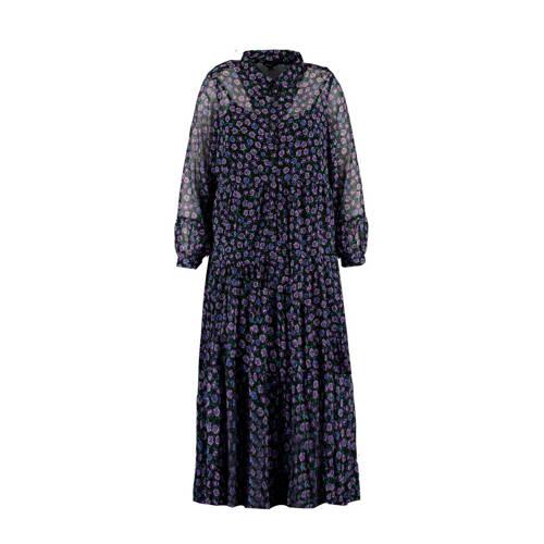 MS Mode gebloemde semi-transparante maxi jurk zwar