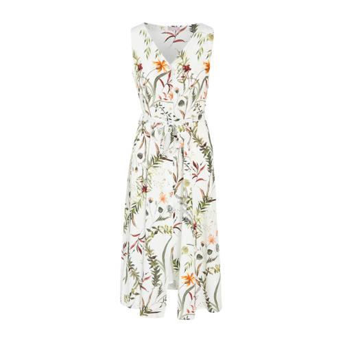 Cassis gebloemde jurk ecru