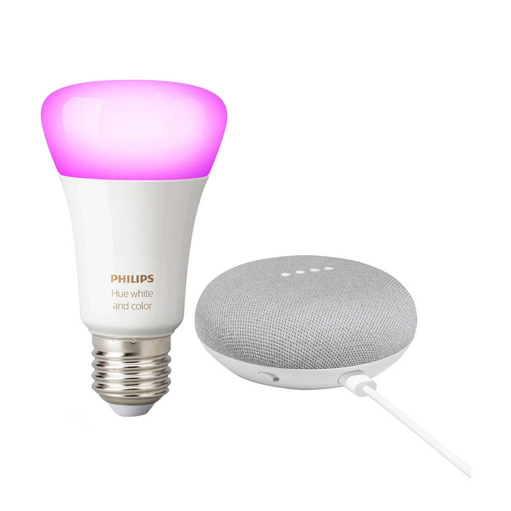 Philips Hue White and Color + Google Nest Mini, Wit