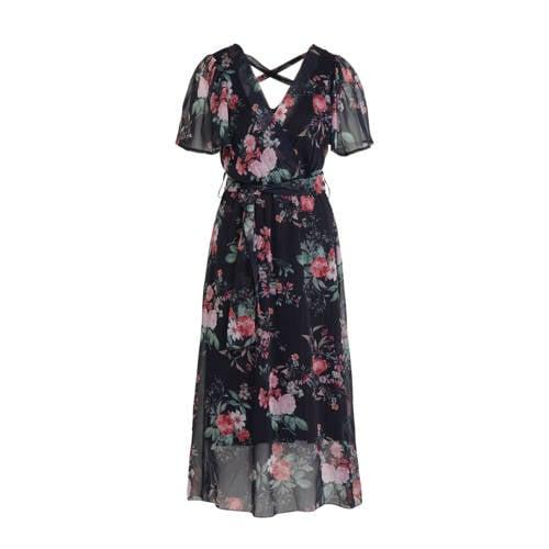 LOLALIZA gebloemde semi-transparante jurk donkerbl