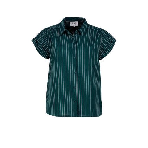 CKS blouse met krijtstreep petrol/wit