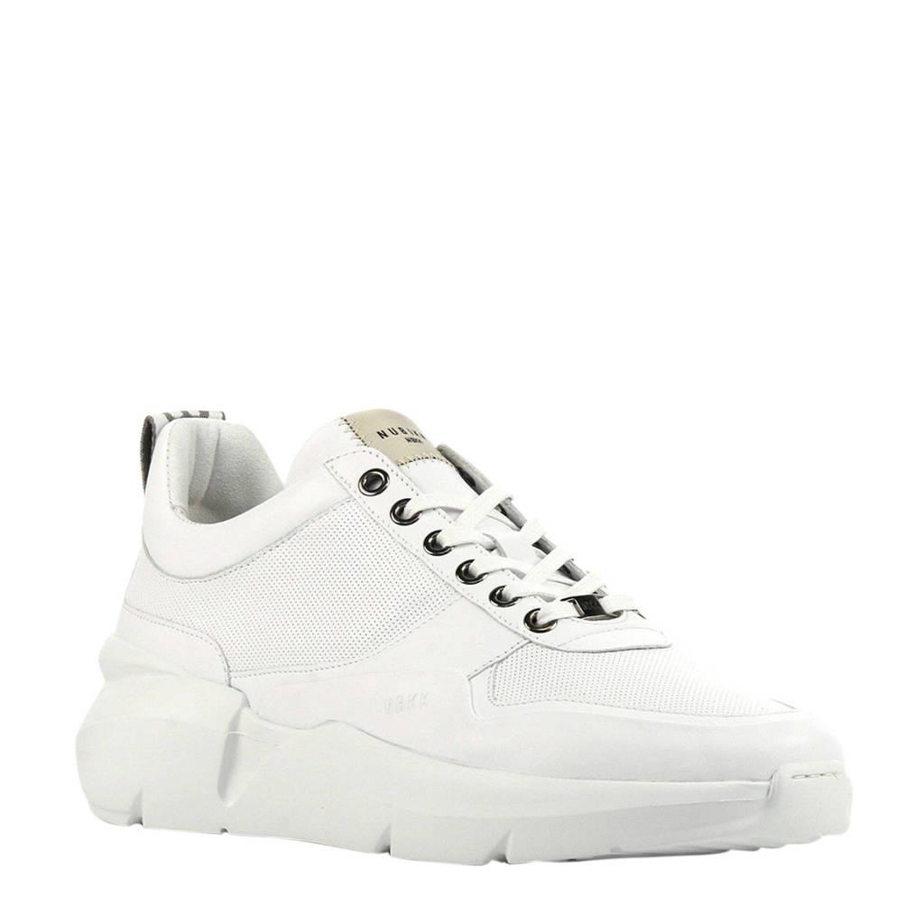 Nubikk Elven Tanuki  leren dad sneakers wit, Wit