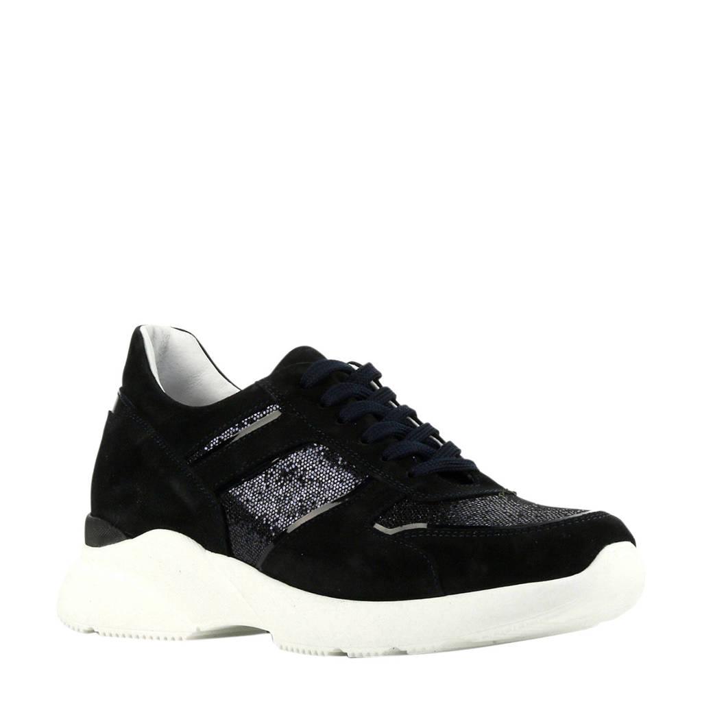 Hip D1595  leren dad sneakers donkerblauw, Donkerblauw