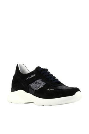 D1595  leren dad sneakers donkerblauw