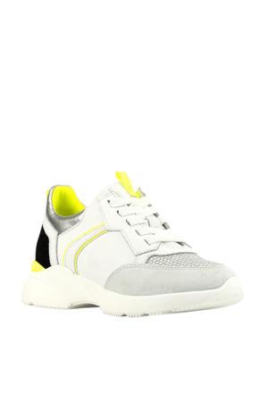 H1274  leren dad sneakers wit/zilver