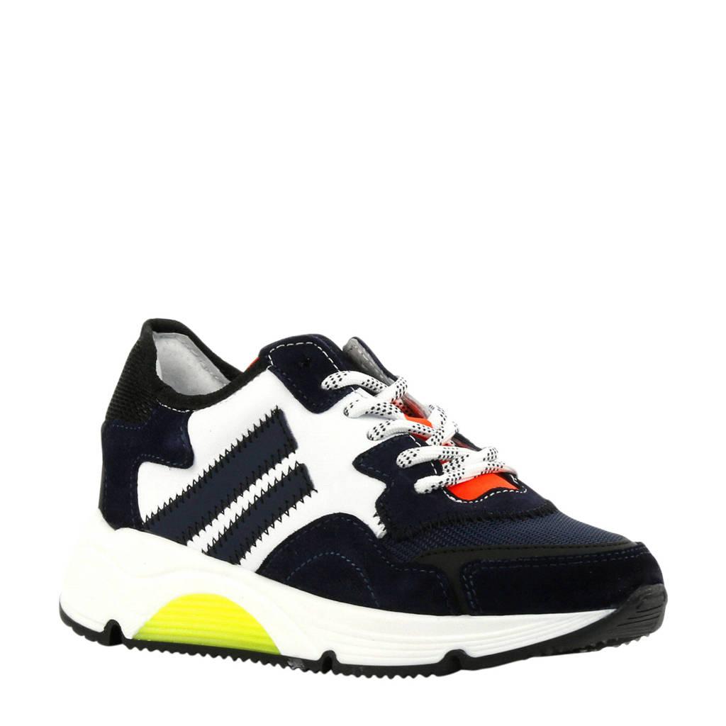 Hip H1204  leren sneakers donkerblauw, Blauw/wit