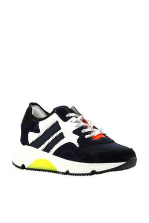 H1204  leren sneakers donkerblauw