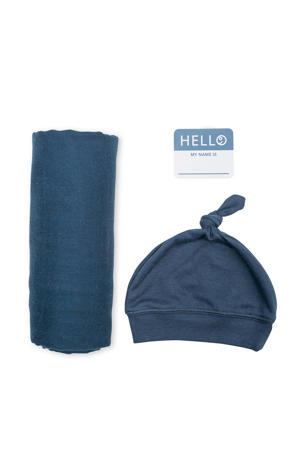 cadeau set Hello World Swaddle & Hat - Navy