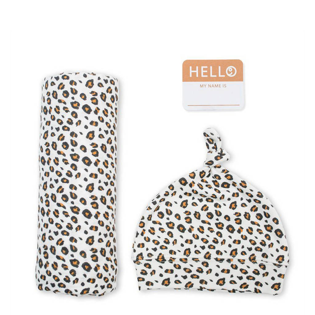 Lulujo cadeau set Hello World Swaddle & Hat - Leopard, wit/zwart/bruin