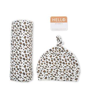 cadeau set Hello World Swaddle & Hat - Leopard