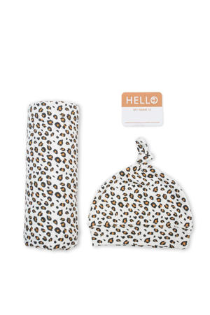 cadeau set Hello World Swaddle & Hat - Leopard