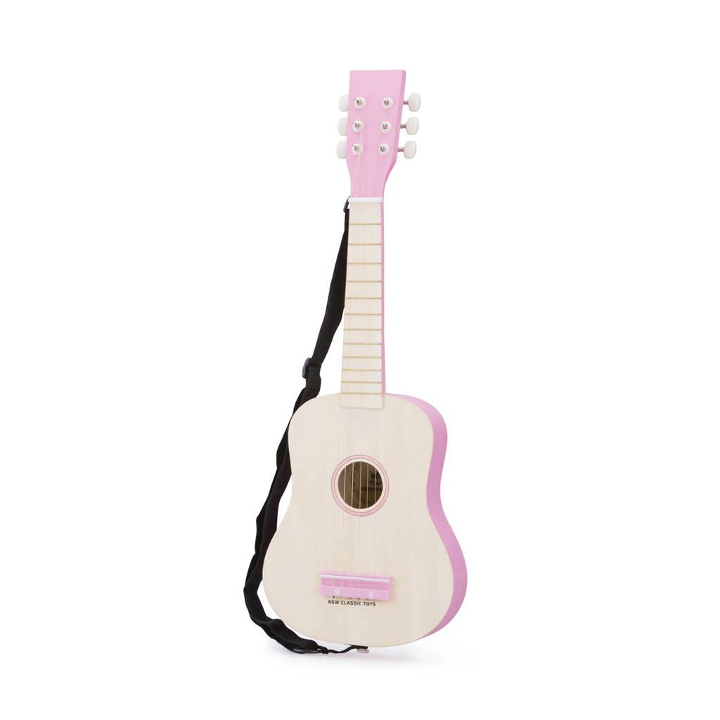 New Classic Toys houten Gitaar de Luxe Blank/Roze Inclusief Muziekboekje