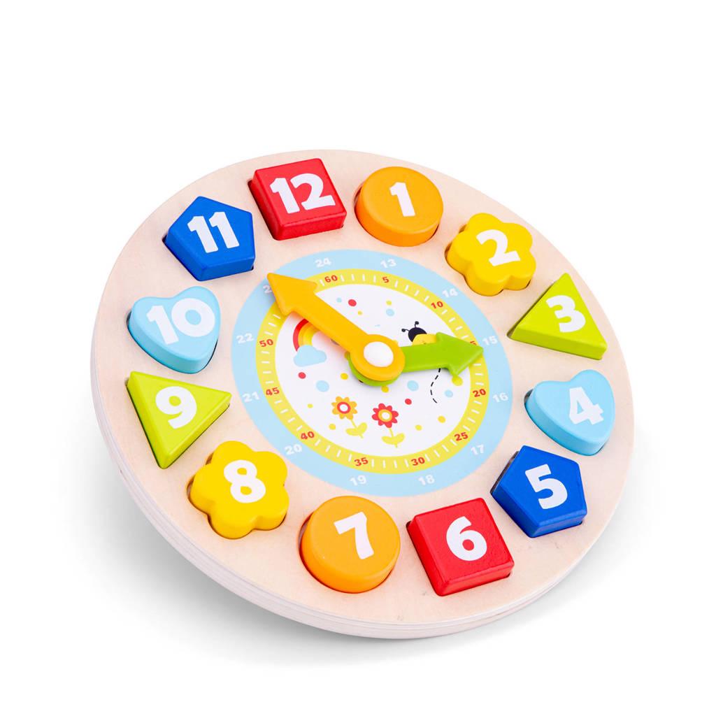 New Classic Toys klok houten vormenpuzzel 12 stukjes