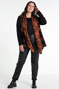No Secret gebreid vest met printopdruk zwart/oranje, Zwart/oranje