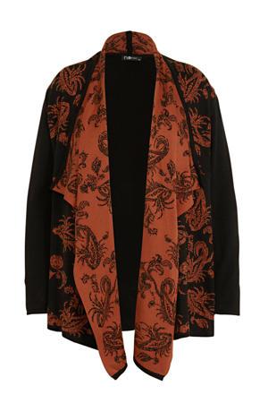 gebreid vest met printopdruk zwart/oranje