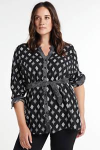No Secret blouse met all over print zwart/wit, Zwart/wit