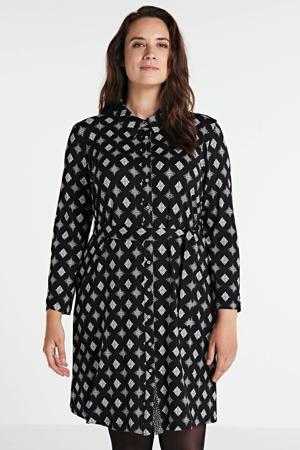 blousejurk met all over print en ceintuur zwart/wit