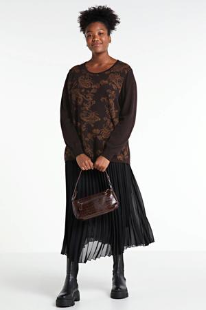 trui met printopdruk donkerbruin/bruin