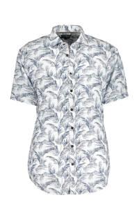 State of Art regular fit overhemd met all over print blauw/wit, Blauw/wit
