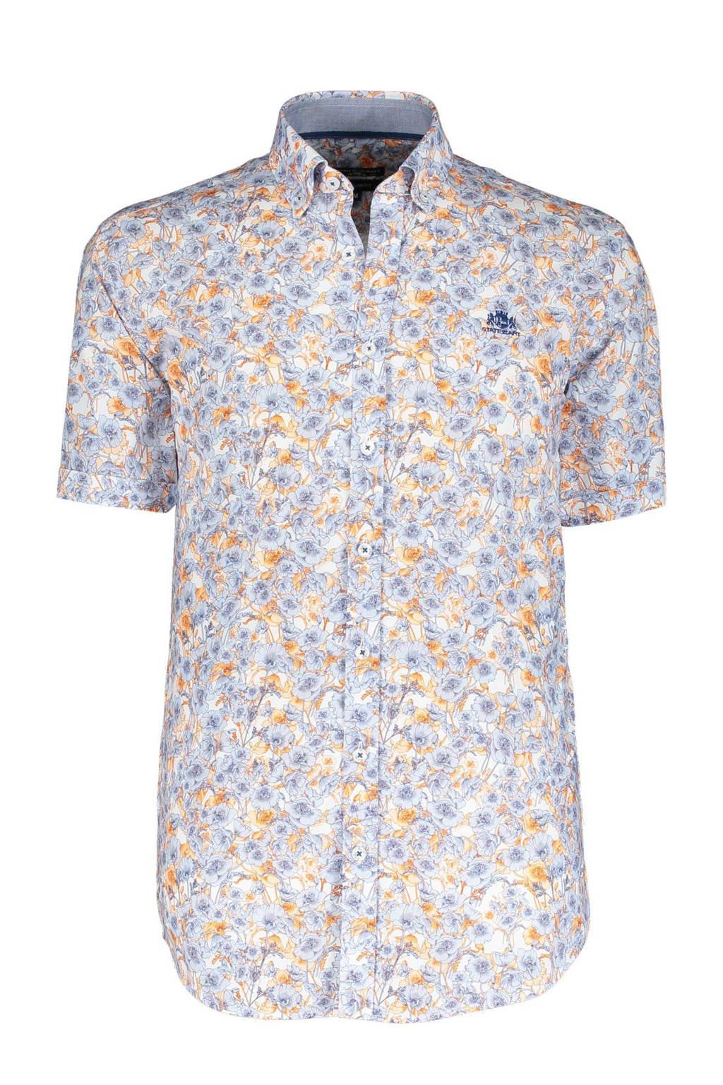 State of Art gebloemd regular fit overhemd oranje/lichtblauw, Oranje/lichtblauw